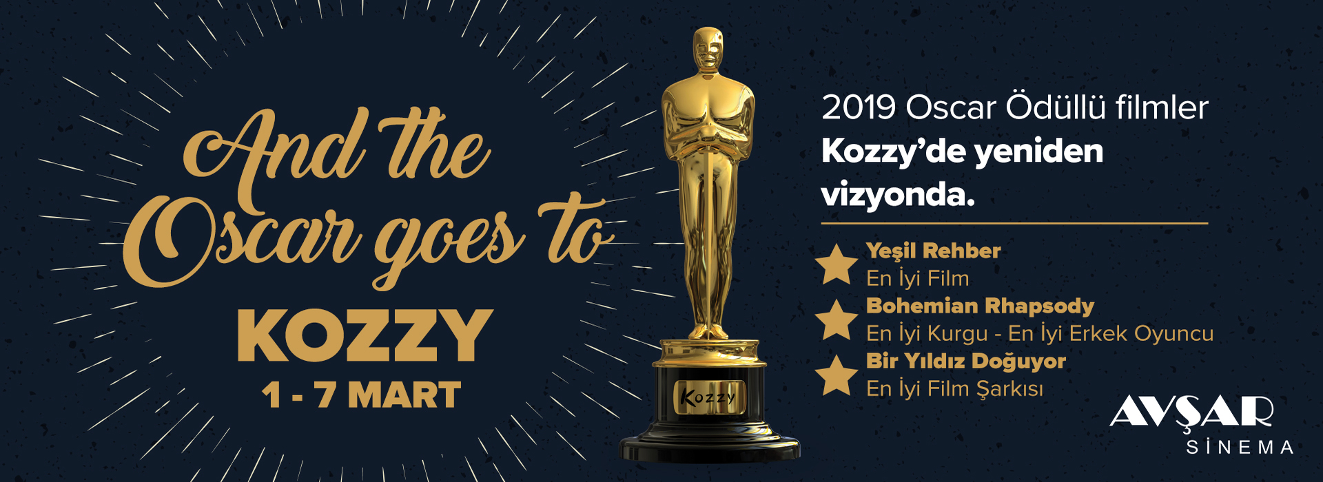 2019 Oscar Ödüllü Filmler Kozzy'de Yeniden Vizyonda.