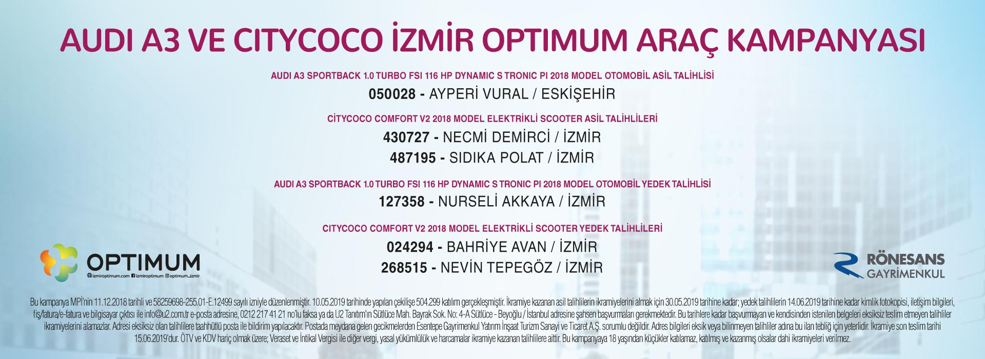 Audi A3 ve Citycoco İzmir Optimum Araç Kampanyası Çekiliş Sonuçları