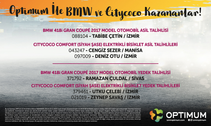 Optimum İle BMW ve Citycococ Kazananlar!