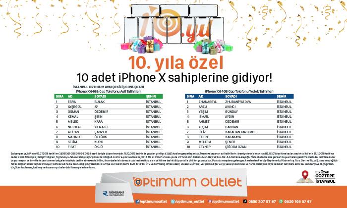 10. Yıla Özel 10 Adet iPhoneX Sahiplerine Gidiyor