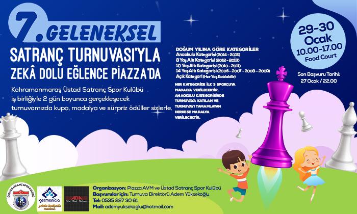 7. Geleneksel Satranç Turnuvası'yla Zeka Dolu Eğlence Piazza'da