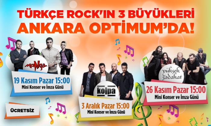 Türkçe Rock'ın 3 büyükleri Ankara Optimum'da